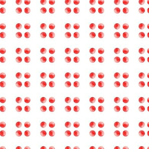 Cherry Red Watercolor Spots    Polka Dots Circles Abstract strawberry fruit summer Miss Chiff Designs