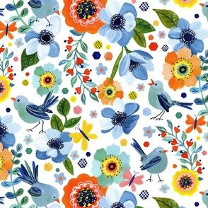 Happy Birds Floral by Angel Gerardo