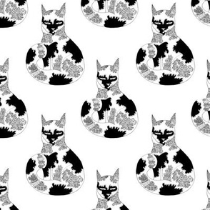 Ornamental Cat in black and white