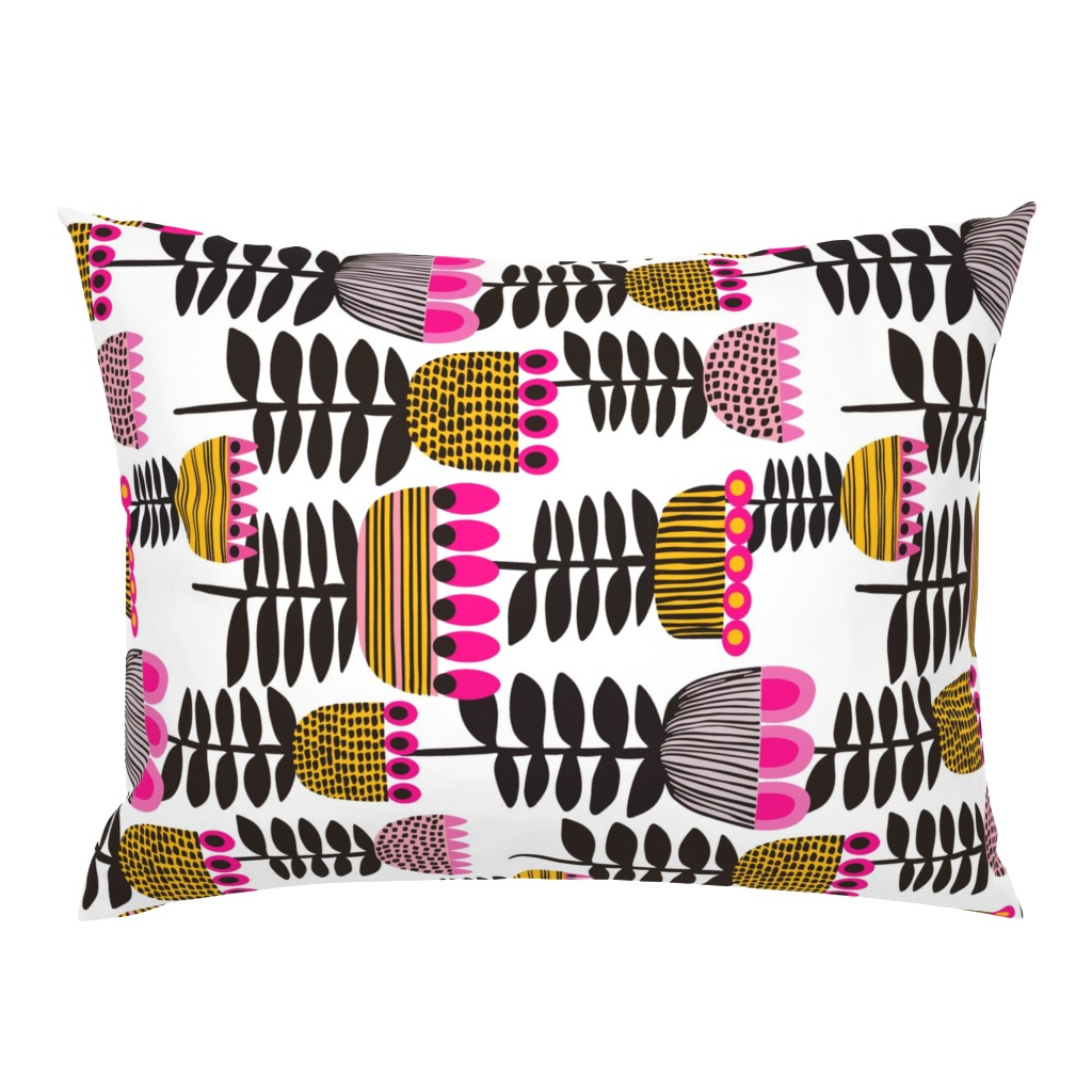Campine Pillow Sham featuring Tulip Time Mid Century Pink Horitzontal by kirstenkatz