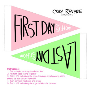 First & Last Day of School Pennants - Pink & Mint