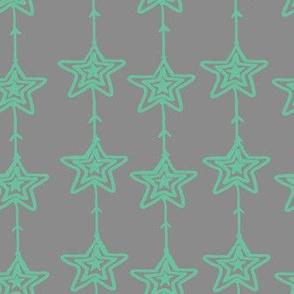Christmas Stars Gray Mint