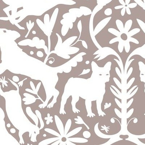 Dog Otomi White on Pinky Gray