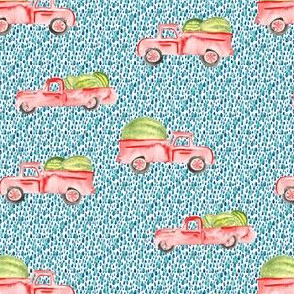 Red Farm Truck Watermelon Watercolor || Vintage Car Teal spots summer food fruit state fair_Miss Chiff Designs