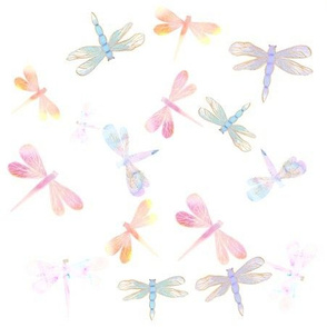 Watercolor Dragonflies // White