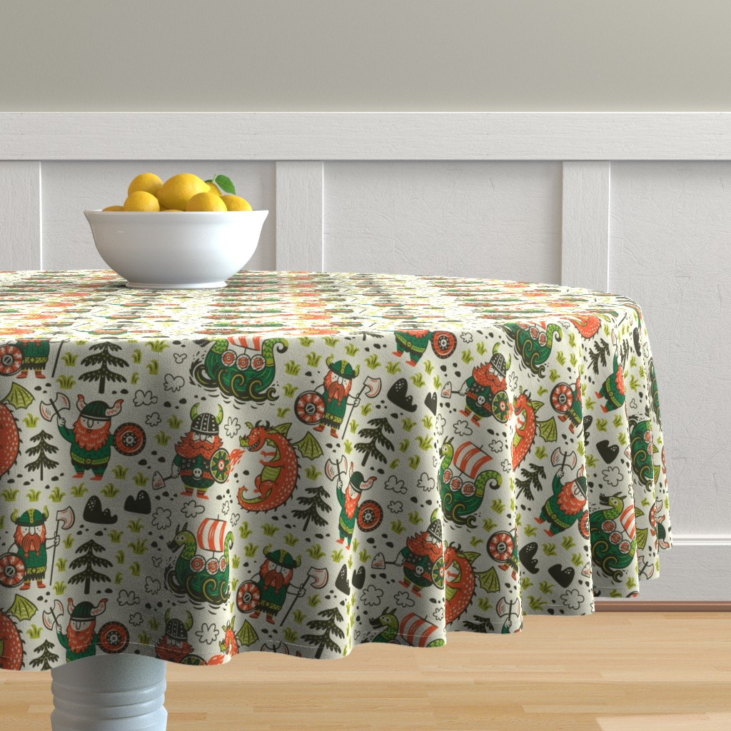 Malay Round Tablecloth featuring Vikings by penguinhouse