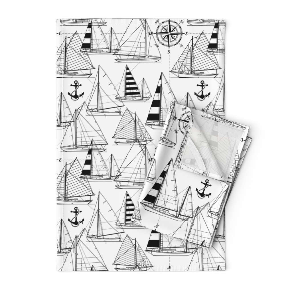 Orpington Tea Towels featuring sailboats - black on white by mirabelleprint
