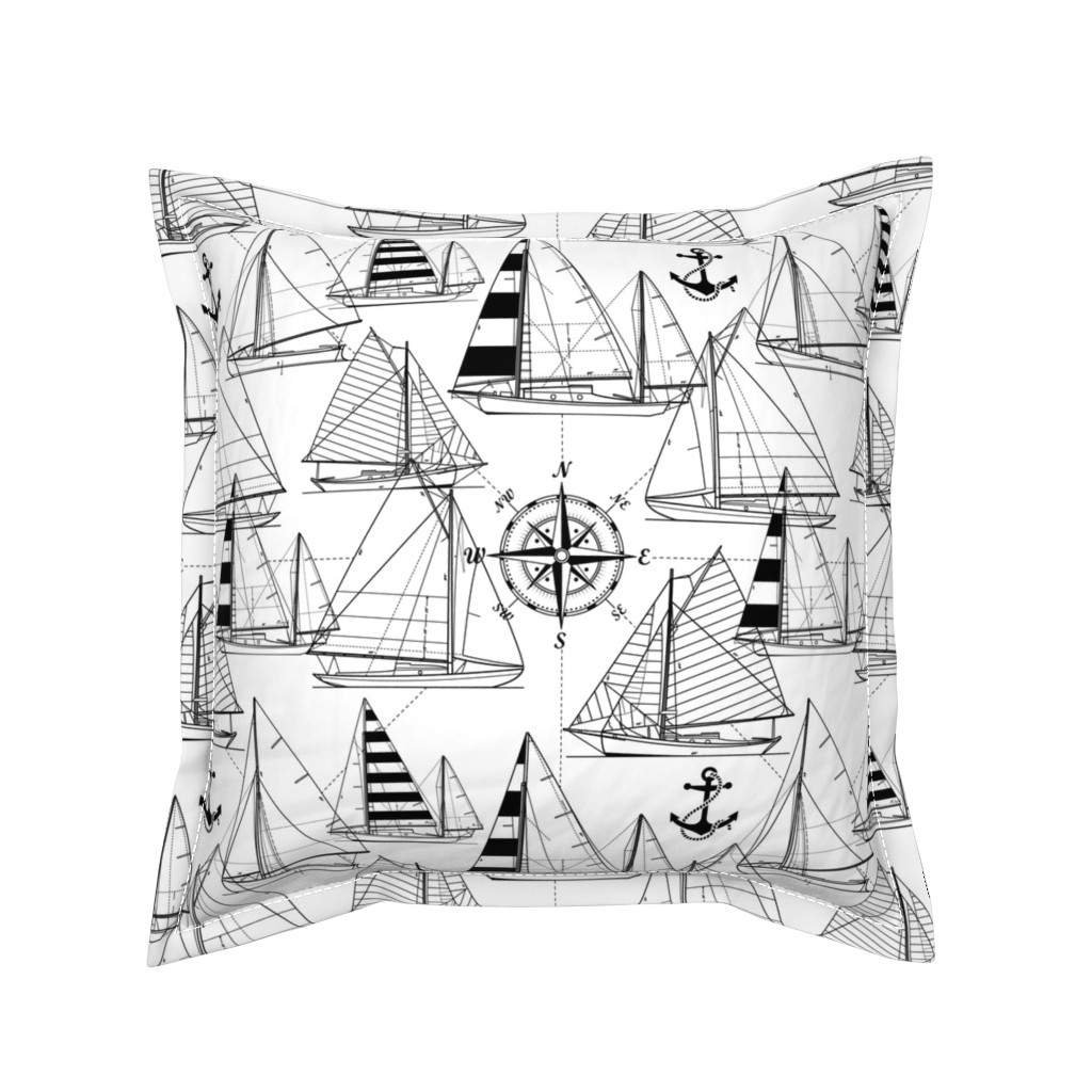 Serama Throw Pillow featuring sailboats - black on white by mirabelleprint