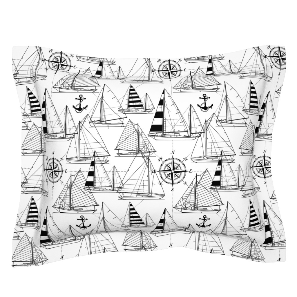 Sebright Pillow Sham featuring sailboats - black on white by mirabelleprint