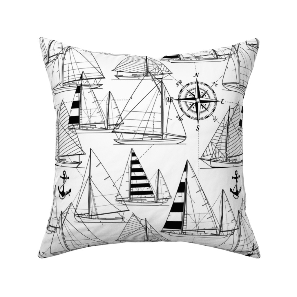Catalan Throw Pillow featuring sailboats - black on white by mirabelleprint