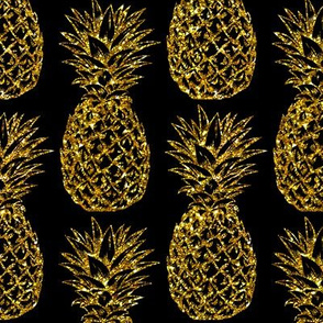 gold glitter classic pineapples - black