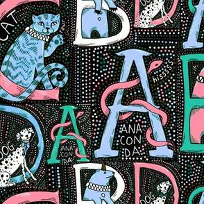 Circus animal alphabet, pastel