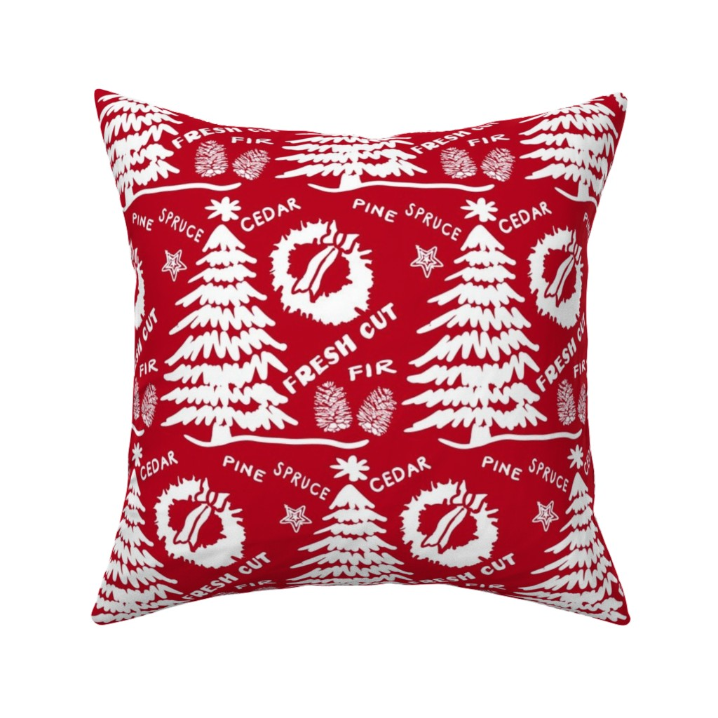 Catalan Throw Pillow featuring Christmas Tree fresh-cut Red by fat_bird_designs