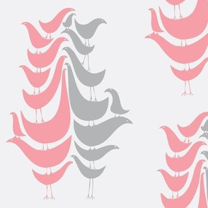 Cooky Birds in Pink and Grey