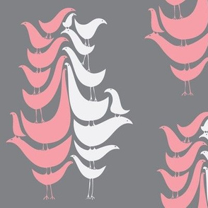 Pink Cooky Birds on Grey Day