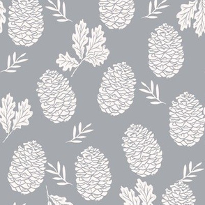pinecone fabric // pinecone winter camping woodland linocut fabric - grey