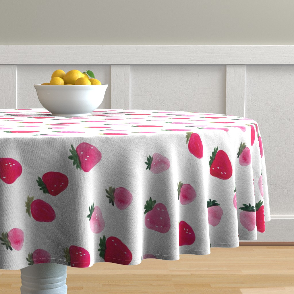 Malay Round Tablecloth featuring Watercolor strawberries - oversized sideways by thislittlestreet