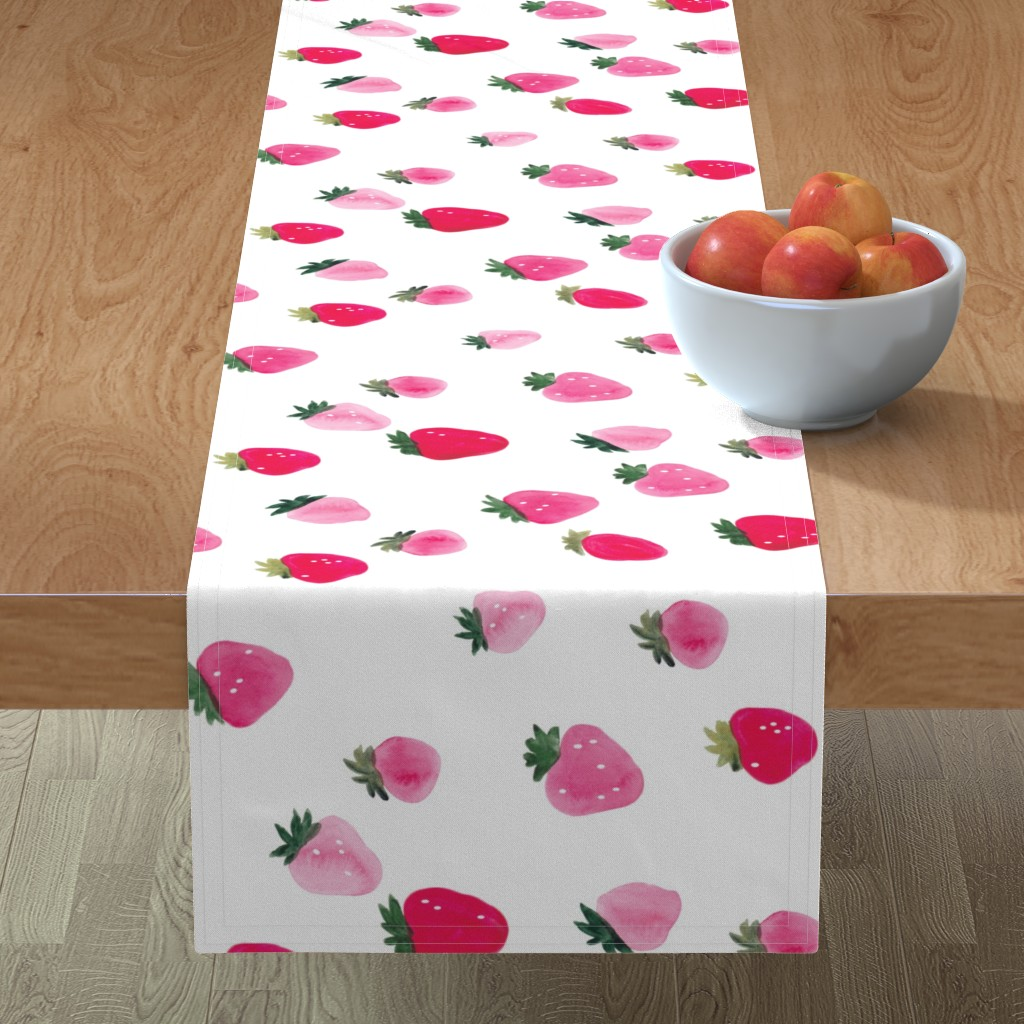 Minorca Table Runner featuring Watercolor strawberries - oversized sideways by thislittlestreet