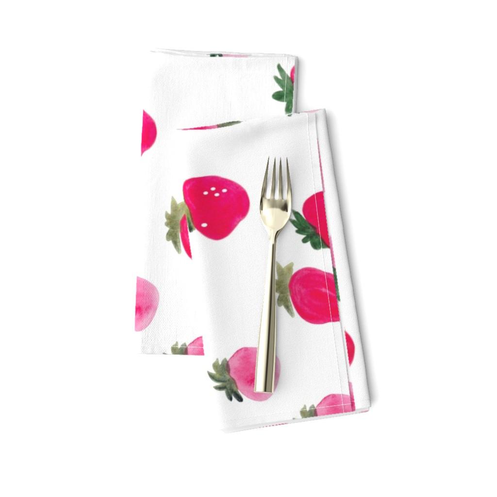 Amarela Dinner Napkins featuring Watercolor strawberries - oversized sideways by thislittlestreet