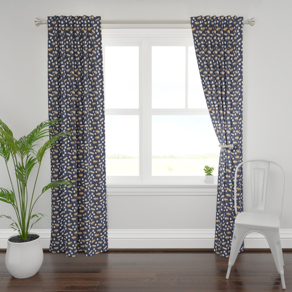 Plymouth Curtain Panel featuring s'mores and marshmallows on adventure blue by littlearrowdesign