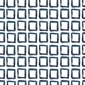 Watercolor indigo squares pattern