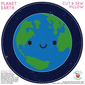 Kawaii Planet Earth Mini Pillow