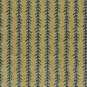 Feather Stripe - Navy, Lichen, Linen