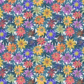 Pattern #79 Passion Flowers (on blue leaves) SM