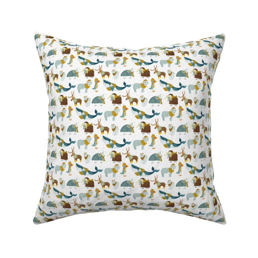 Catalan Throw Pillow featuring Pattern #72 - Arctic Animals with woolly scarves - SM  by irenesilvino
