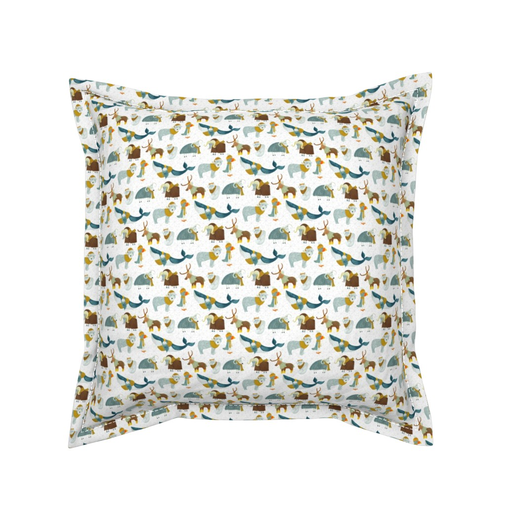 Serama Throw Pillow featuring Pattern #72 - Arctic Animals with woolly scarves - SM  by irenesilvino