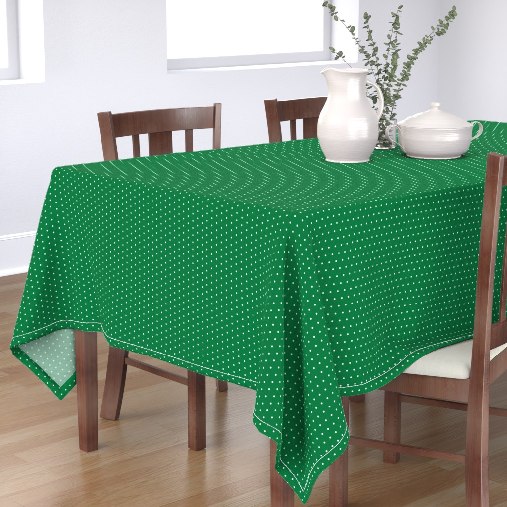 Bantam Rectangular Tablecloth featuring Mini Dot christmas minimal pattern green by petfriendly