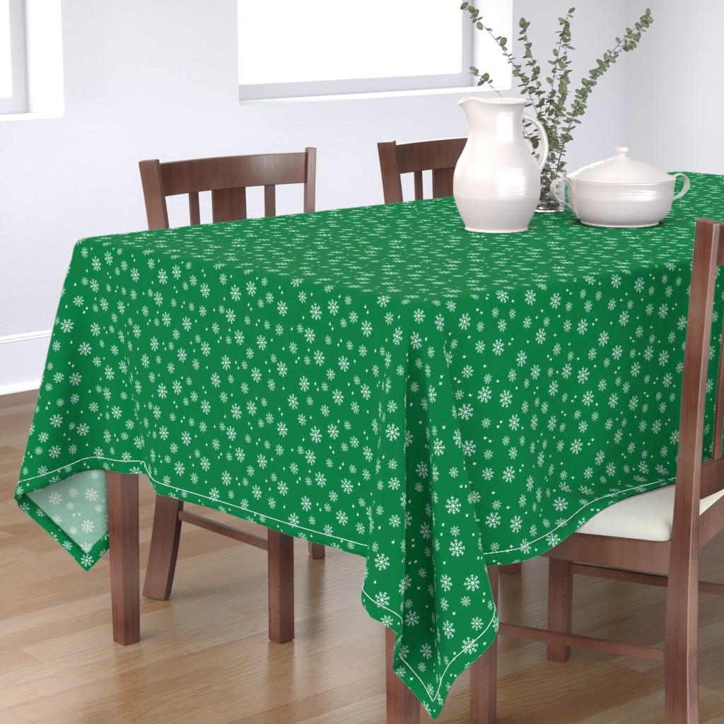 Bantam Rectangular Tablecloth featuring Snowflake christmas minimal pattern med green by petfriendly