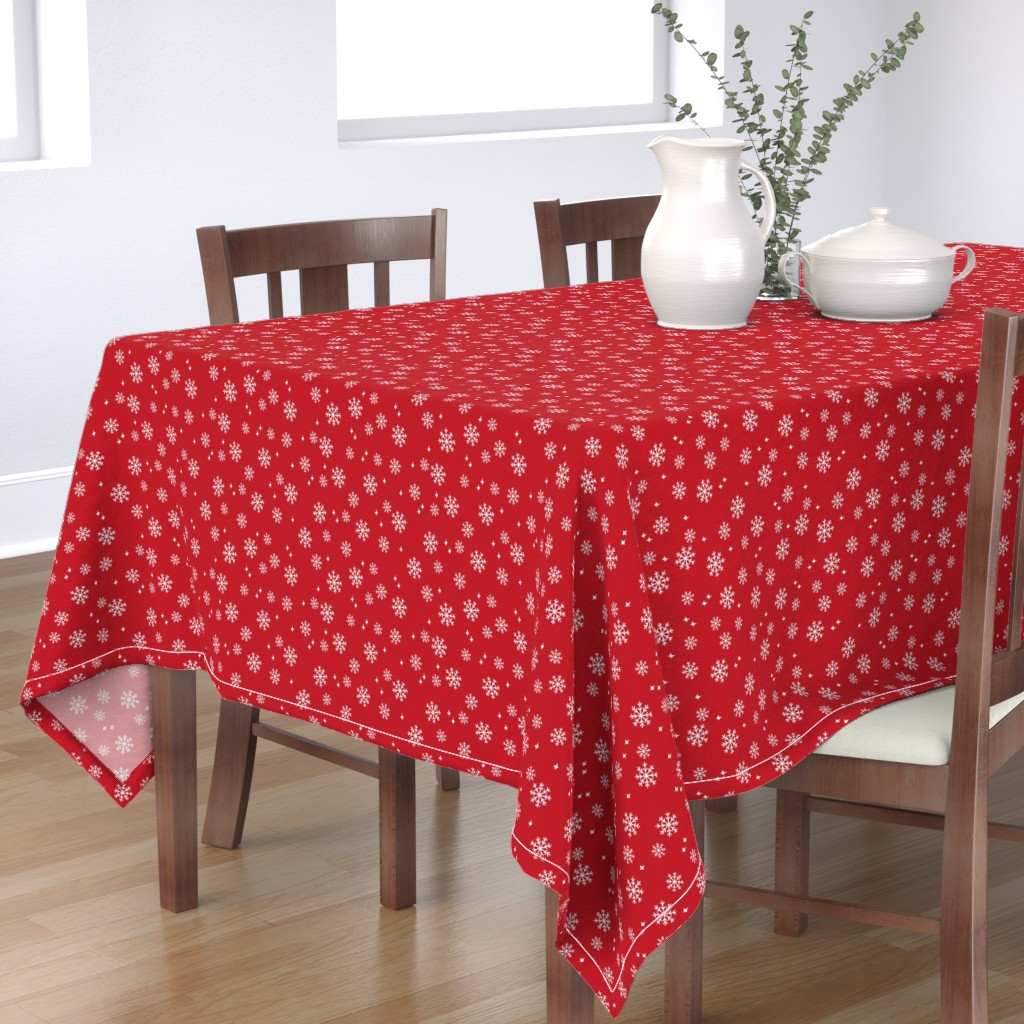 Bantam Rectangular Tablecloth featuring Snowflake christmas minimal pattern red by petfriendly