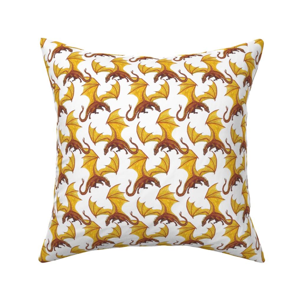 Catalan Throw Pillow featuring dragon on white smaller by alenushka