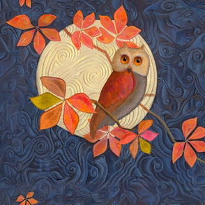 Pillow Size Owls with Autumn Leaves and Harvest Moon