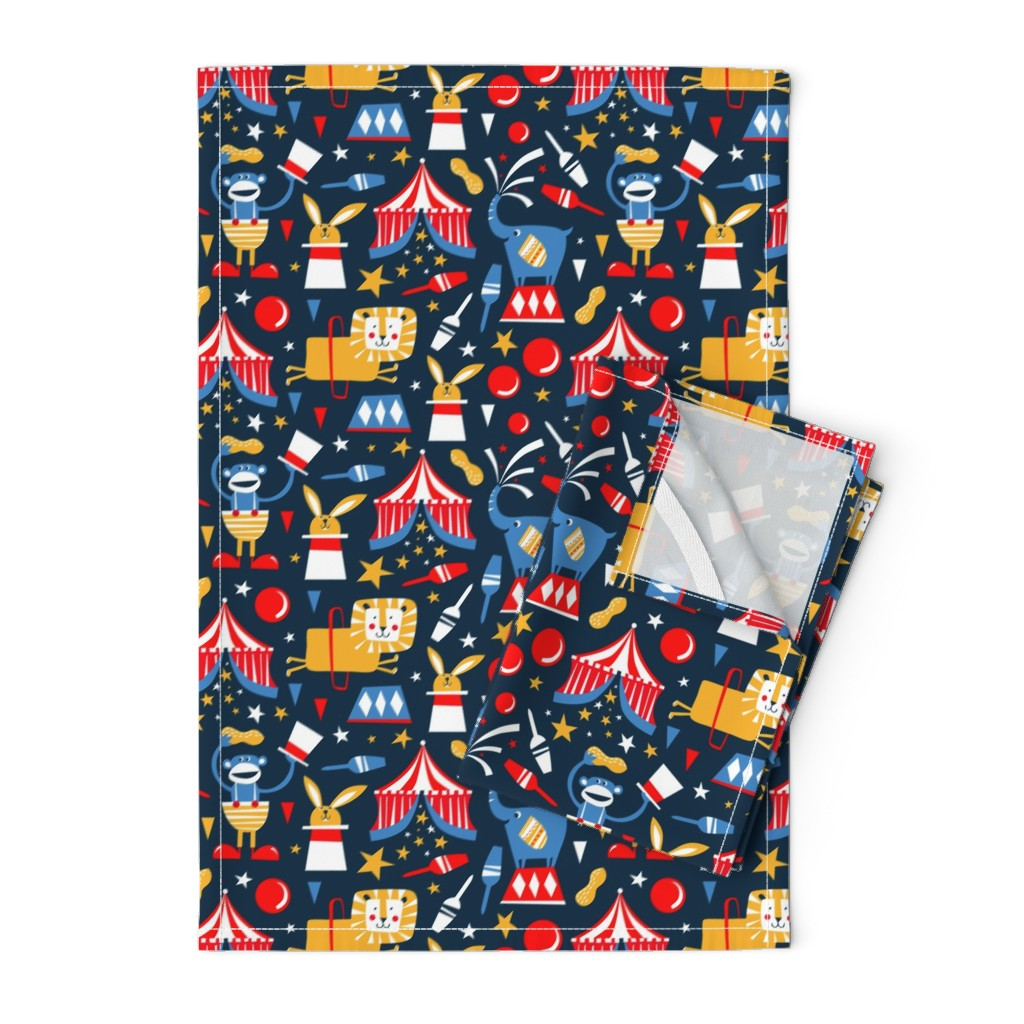 Orpington Tea Towels featuring Circus Celebration - Navy Blue by heatherdutton
