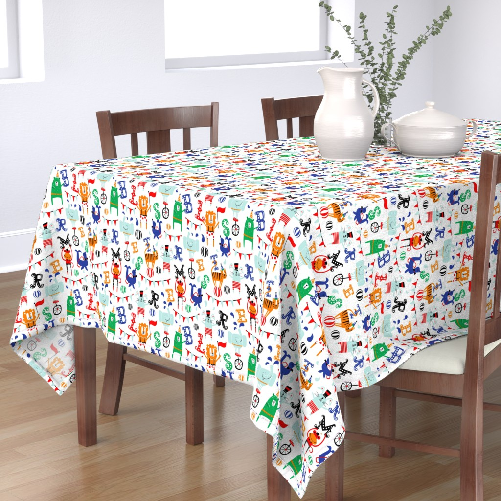 Bantam Rectangular Tablecloth featuring Circus School - Animal Alphabet White by heatherdutton