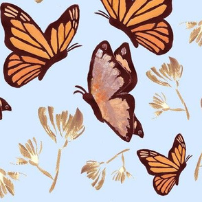 Watercolor Butterfly Painting (Orange, Gold, Light Blue)