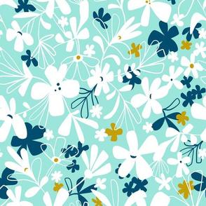 Eloise - Boho Floral Aqua Regular Scale