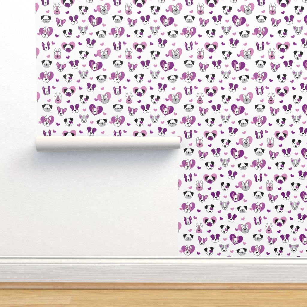 Isobar Durable Wallpaper featuring Luv Pups Purple by tiffanyillustrator
