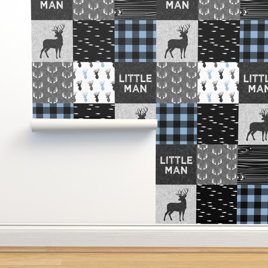 Isobar Durable Wallpaper featuring little man - baby blue and black (buck) quilt woodland by littlearrowdesign