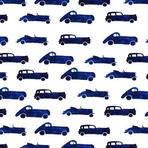 Retro blue cars, watercolor