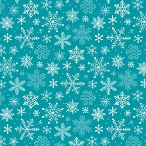 Snowflakes Winter Christmas on Blue Smaller