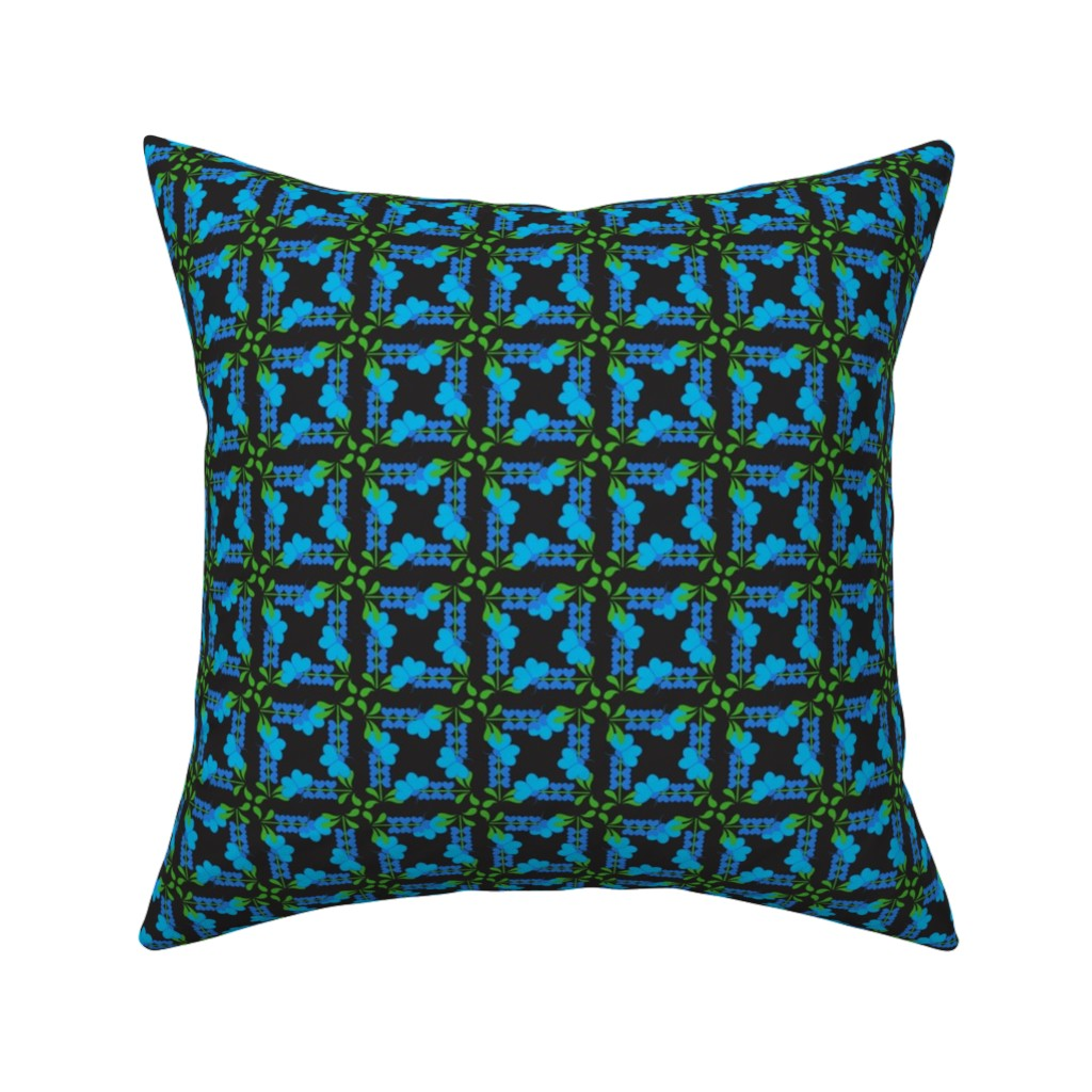 Catalan Throw Pillow featuring Blue Butterflies and Blooms by julietchase