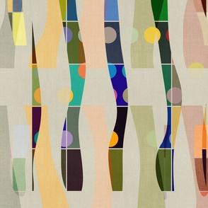 Color Blocks Linen . Mid-Century Shapes