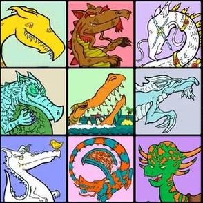 Cartoon Dragon Grid
