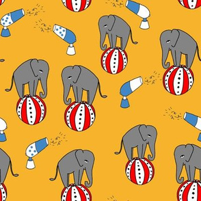 circus elephant fabric // circus animals blue and grey - yellow