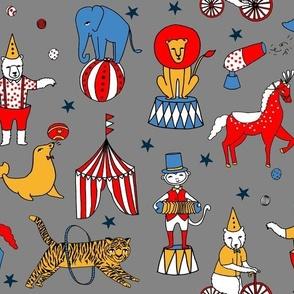 circus design // circus animals lion tiger elephant star stripes circus - grey