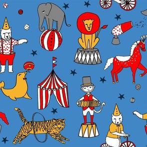 circus design // circus animals lion tiger elephant star stripes circus - blue