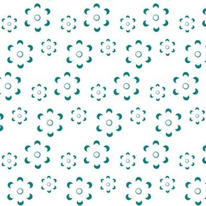 Court & Spark - Scandi Floral Cutout Turquoise on White